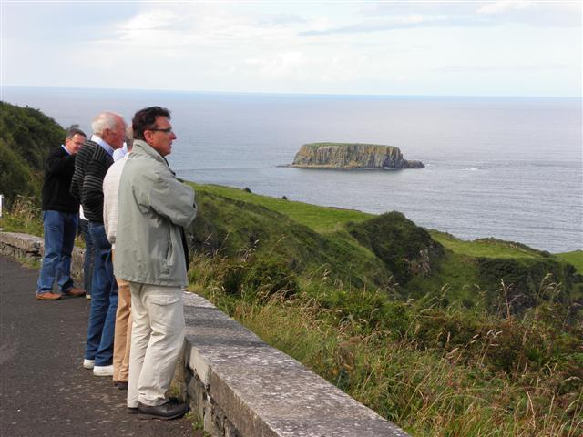 Tourists enjoying the view near Carrick-a-rede