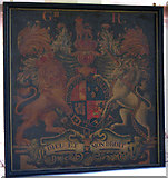TL8683 : St Peter's church in Thetford - George III royal arms by Evelyn Simak