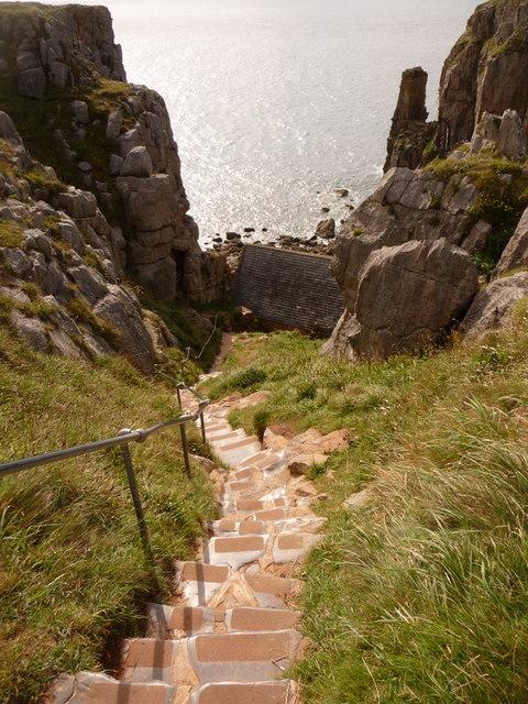 St. Govan's Head: steps to the chapel