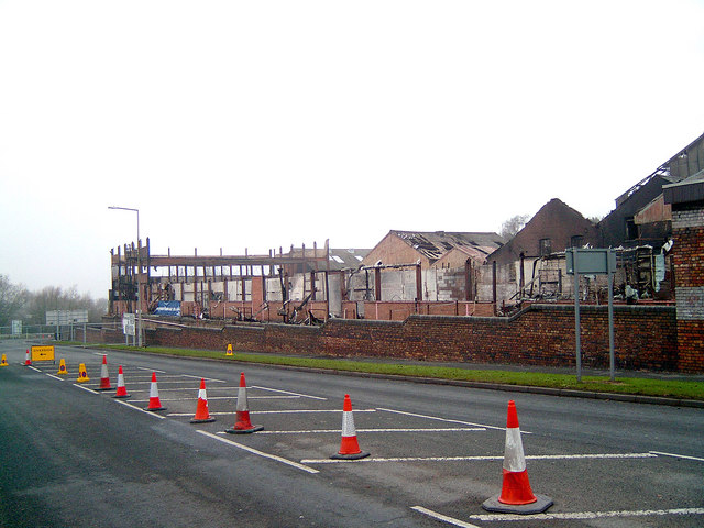 Fire Ravished former Lilleshall Factory at Snedshill, Oakengates
