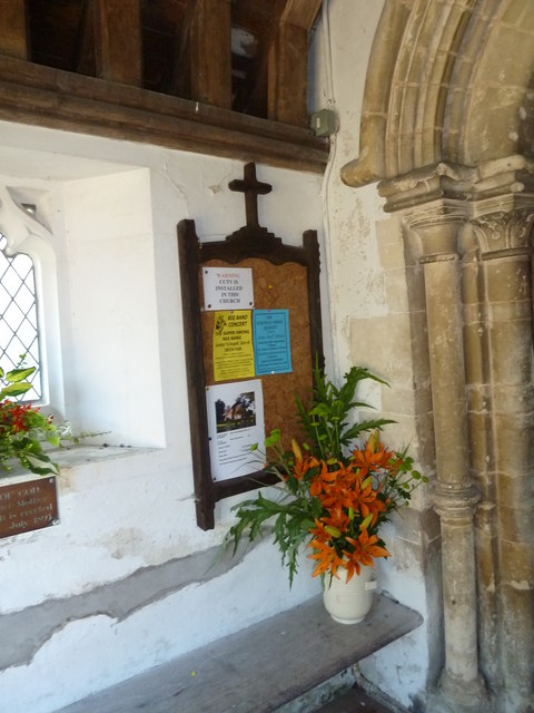 St Peter, Sibton- notice board in the porch