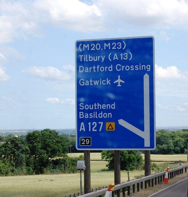 M25: junction 29 sign