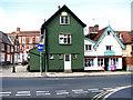 TM2483 : Shops in Broad Street, Harleston by Evelyn Simak