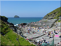 SX0486 : Waiting for the tide to go down - Trebarwith Strand by Richard Law