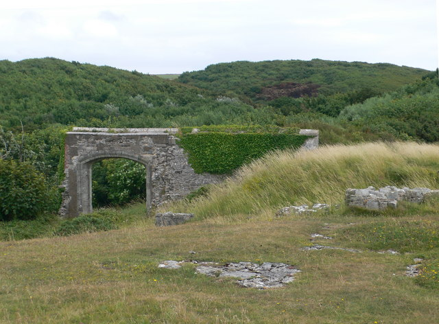 The ruins of Dunraven Castle