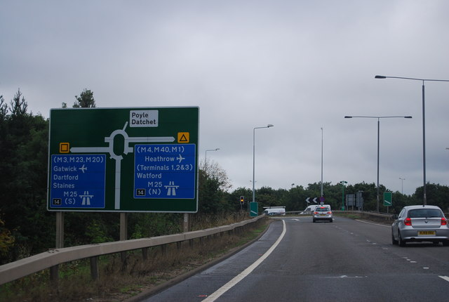 A3113, Airport Way, approaching junction 14, M25