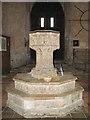 TF9839 : Church of St Mary & Holy Cross, Binham Priory - C15 font by Evelyn Simak