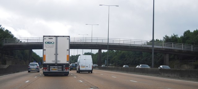 M25: footbridge between junctions 9 and 8