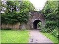 SJ4690 : Railway bridge in Stadt Moer Country Park by Raymond Knapman