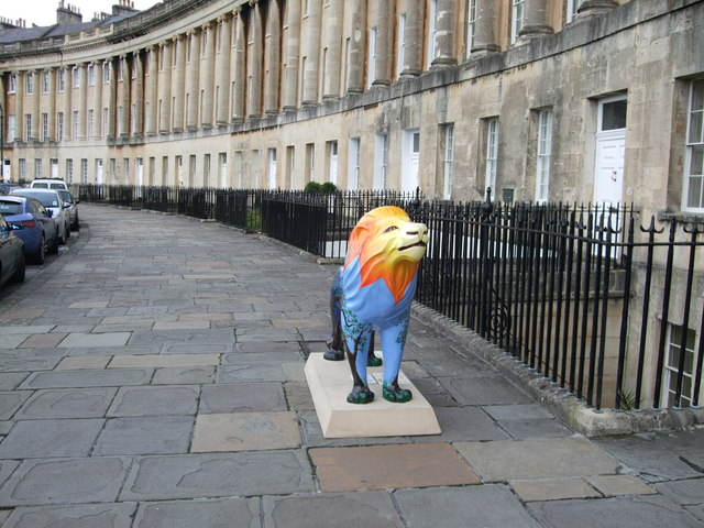 Plastic lion in front of Royal Crescent