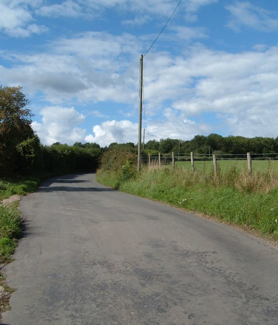 Road between the Bat and Ball pub and Hyden Cross