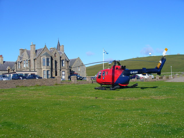 Helicopter at Sumburgh Hotel