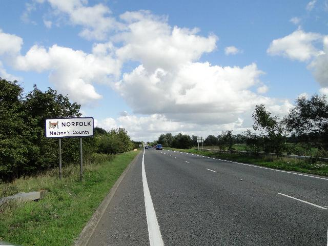 Entering Norfolk on the A143 by Adrian S Pye