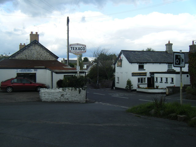 Llysworney village, garage and pub