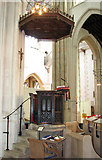 TL8564 : St Edmundsbury cathedral, Bury St Edmunds - the pulpit by Evelyn Simak