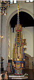 TL8564 : St Edmundsbury cathedral, Bury St Edmunds - font by Evelyn Simak