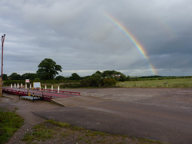 Rainbow over Caughley Quarry weighbridge