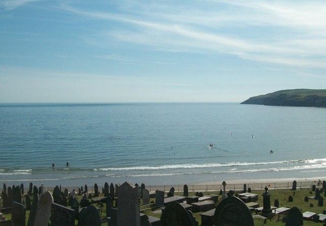 Bae Aberdaron Bay viewed from St Hywyn's Churchyard