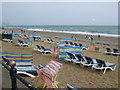 SZ6084 : Deckchairs on Sandown Beach by Paul Gillett