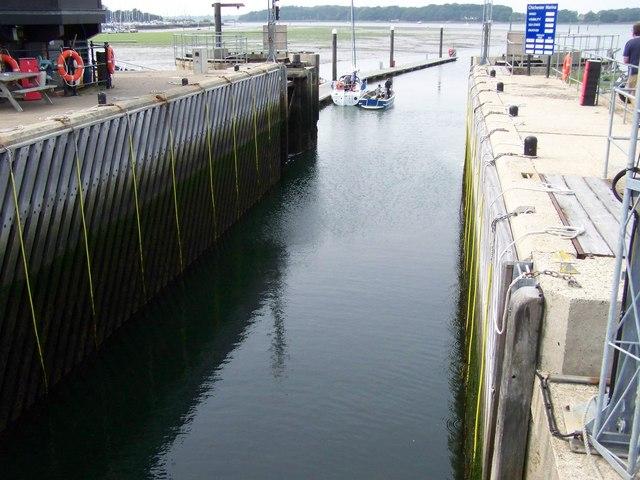 Lock at Chichester Marina.