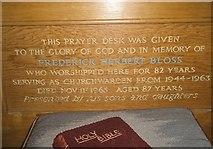 TM2850 : Melton, St Andrew: inscription on the prayer desk by Basher Eyre