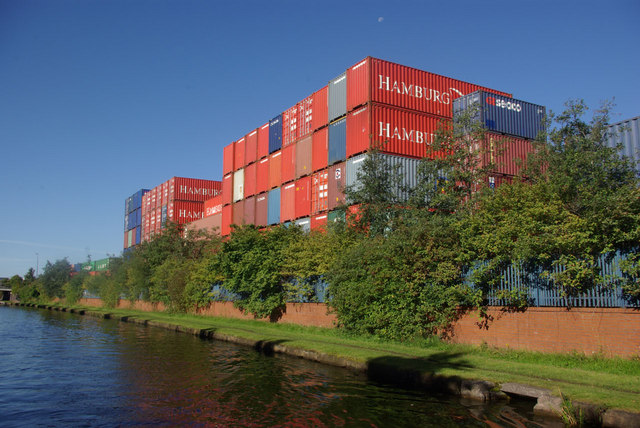 Stacked containers at Trafford Park