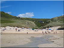 SW3526 : Looking up Vellan Dreath toward Escalls Green from Sennen beach by Rod Allday
