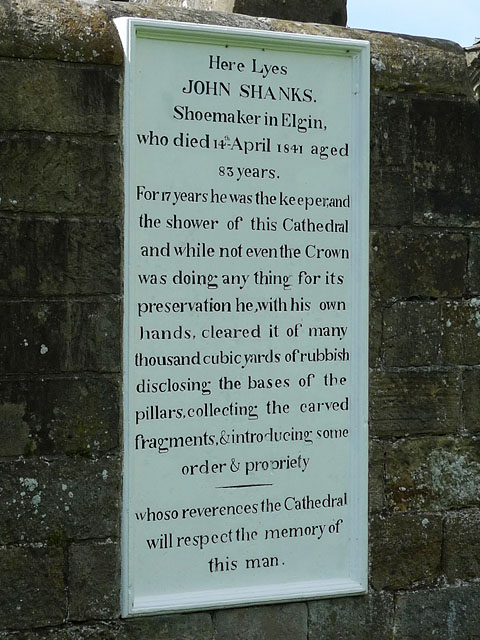 Elgin Cathedral: Tombstone of John Shanks