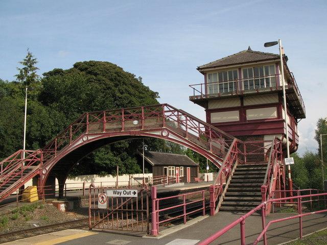 Haltwhistle Station - footbridge and signal box