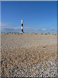 TR0916 : Dungeness New Light from the beach by Richard Law