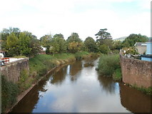 SO5012 : River Monnow upstream from Monnow Bridge, Monmouth by Jaggery