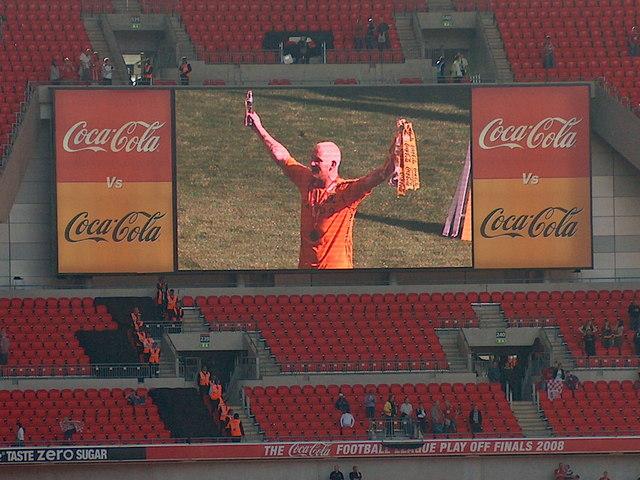 Wembley Stadium 5pm May 24th 2008 - Hull City hero Dean Windass on screen