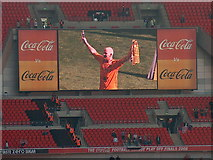 TQ1985 : Wembley Stadium 5pm May 24th 2008 - Hull City hero Dean Windass on screen by Neil Theasby