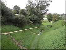 TM2863 : The dry moat at Framlingham Castle by Robert Edwards