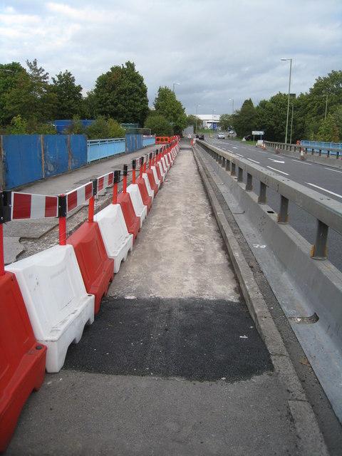 Early stage of bridge repairs
