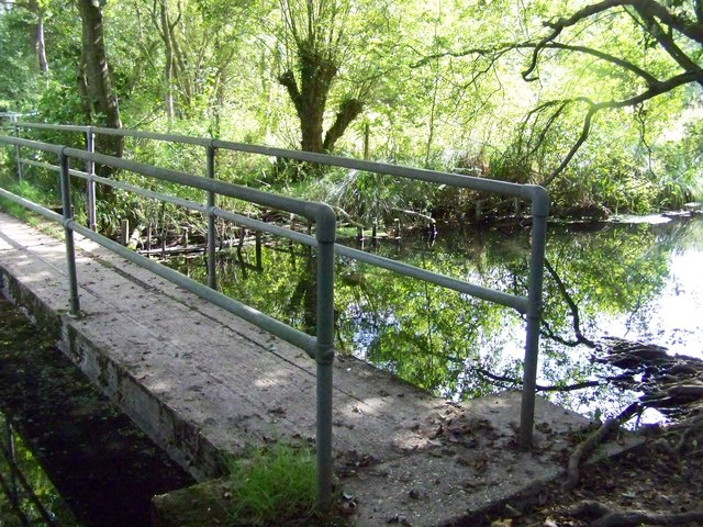 Footbridge over the Whitewater River in the Greywell Moors Nature Reserve