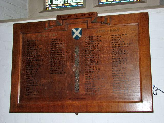 St Andrew's church in Thorpe St Andrew - war memorial
