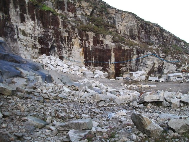 The working face at Thomas's Mountain Quarry