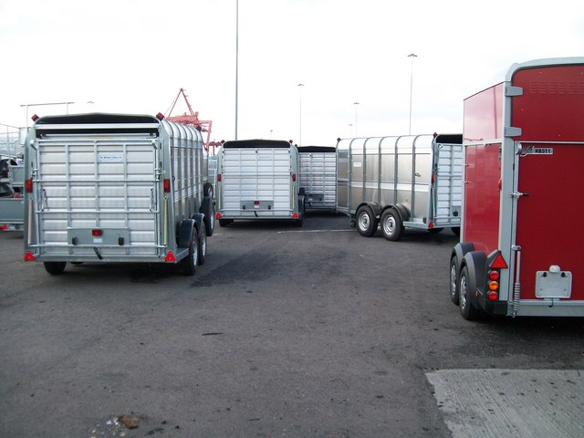 Imported Ifor Williams Trailers at the Stena freight yard