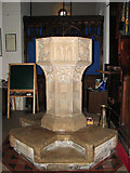 TG1807 : St Andrew's church in Colney - C15 baptismal font by Evelyn Simak