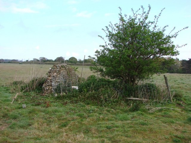 The ruins of Hazelwood Chapel in a field just off the Sandlings Path