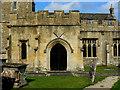 SU1084 : South porch and sundial, St Mary's Church, Lydiard Tregoze, Swindon by Brian Robert Marshall