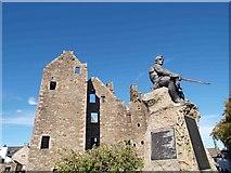 NX6851 : Kirkcudbright Castle and War memorial by Steve  Fareham