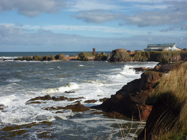 Coastal East Lothian - View from the Clifftop Walk Eastwards Towards the Harbour Area