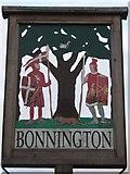 TR0535 : Close-up of Bonnington Village Sign by David Anstiss