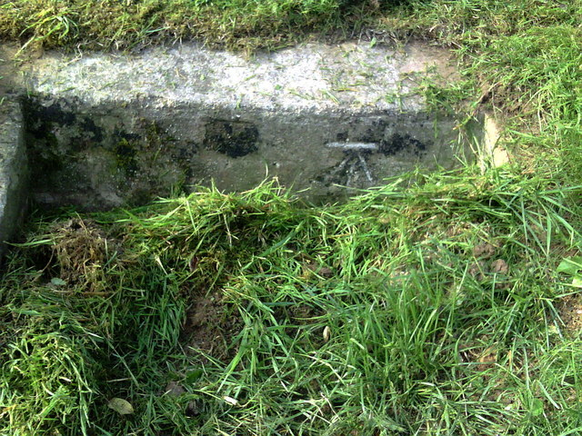 Benchmark on culvert on Beaminster Road