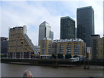 TQ3780 : Canary Wharf from Limehouse Reach by Colin Smith