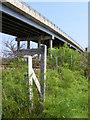 TM4599 : Footpath sign beneath Haddiscoe Bridge by Glen Denny