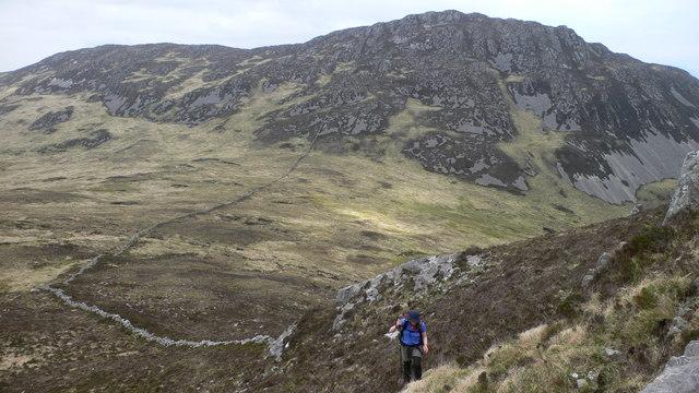 Heading up the NE ridge of Glas Bheinn with Sgorr nan Faoileann in the background