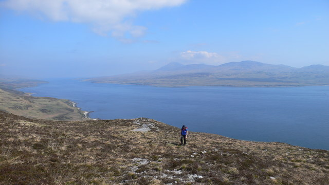 Heading up Beinn Bhreac with the Sound of Islay and Jura in the background